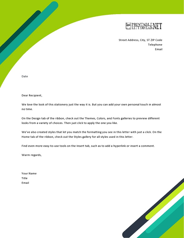 Printable Professional Letterhead Template