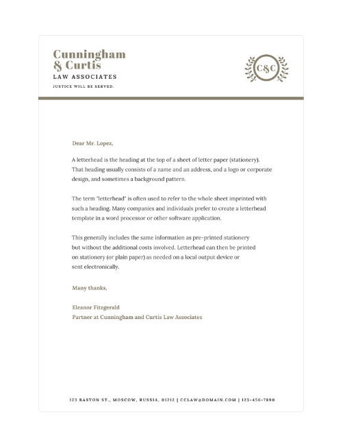 legal letterhead AA