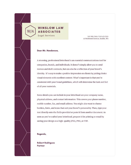 legal letterhead design
