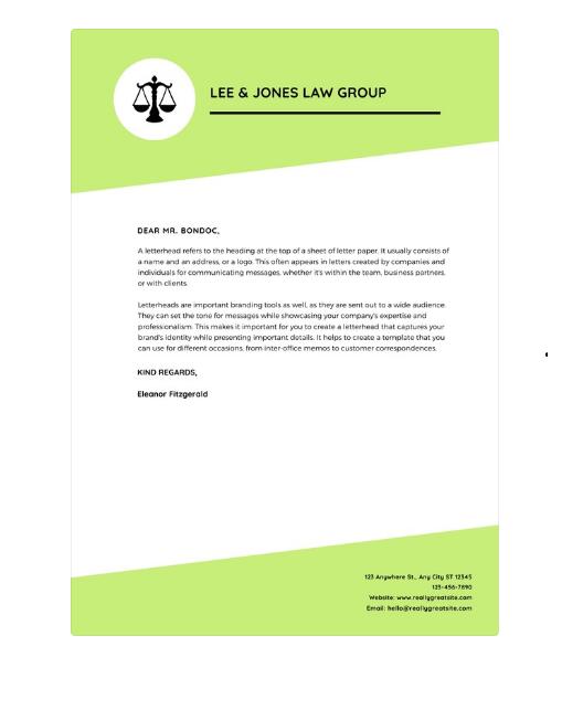 legal letterhead examples