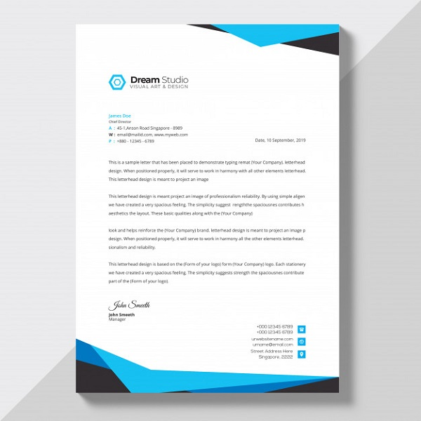 Company letterhead template flat style