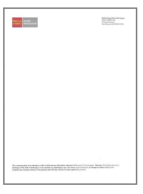 Wells Fargo Letterhead Blank