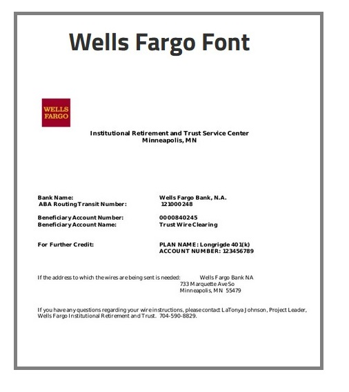 Wells Fargo Letterhead Font