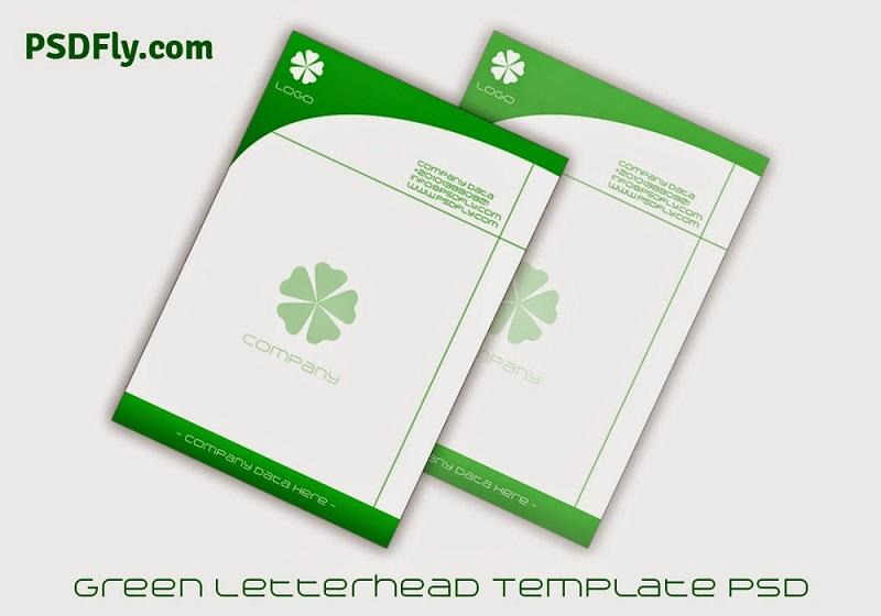 green letterhead template psd