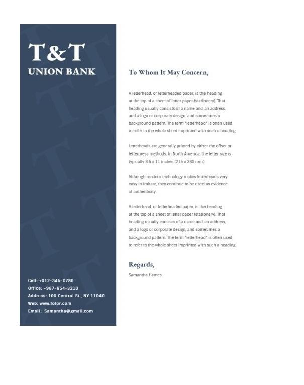 Bank Letterhead Sample