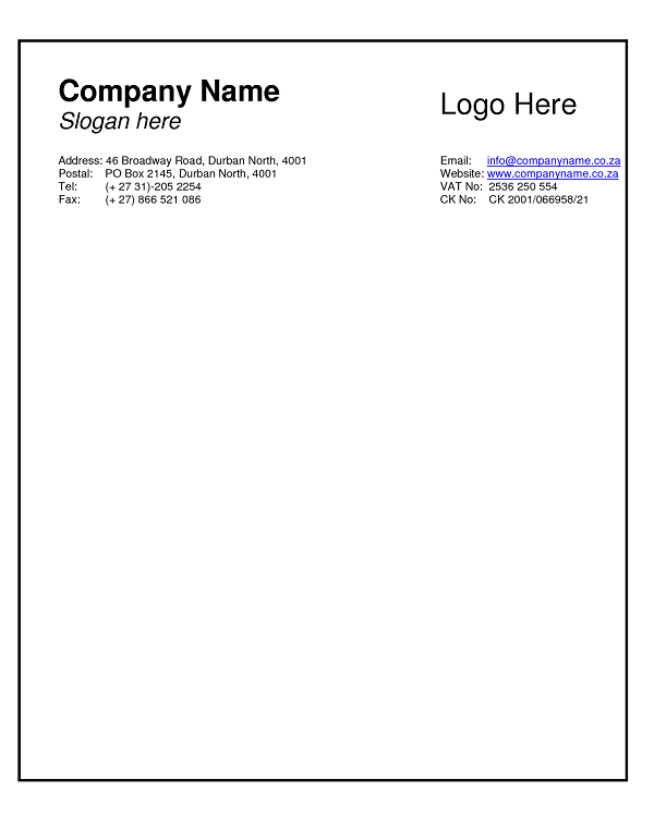 Business Letterhead Example Word