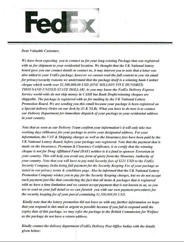Fedex Letterhead