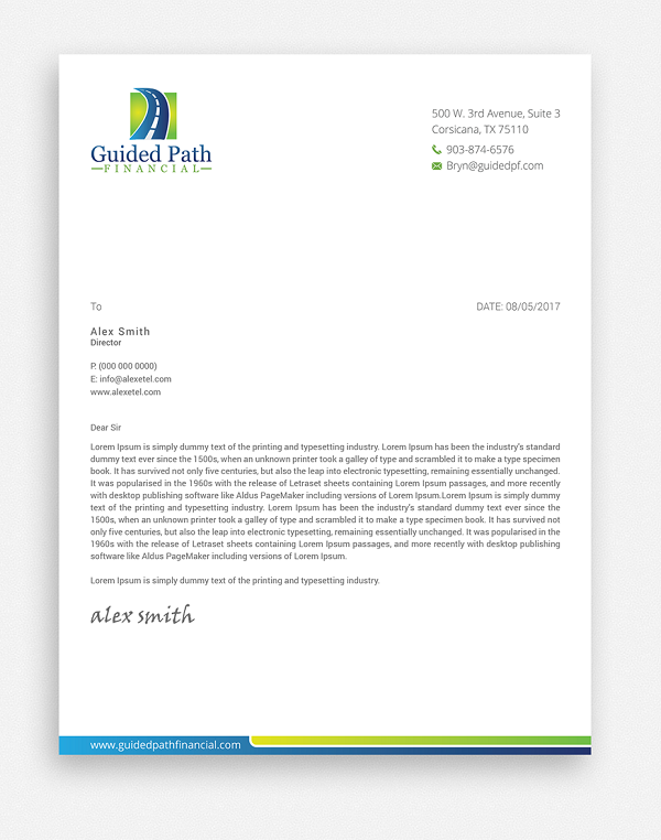 Financial Business Letterhead Example