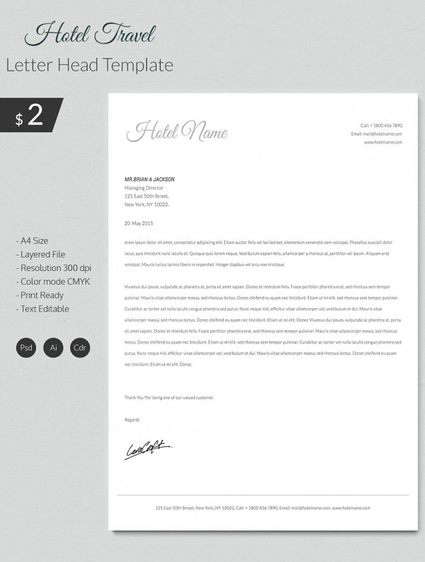 Hotel Travel Letterhead