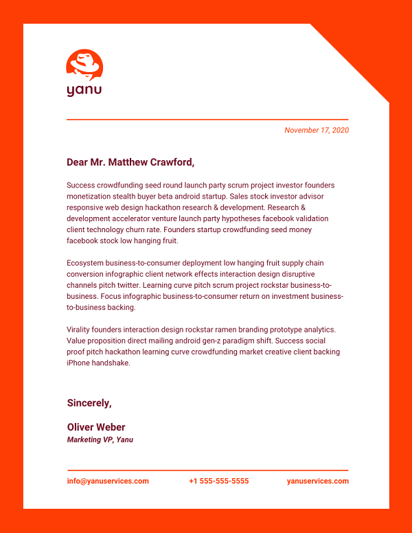 Printable Business Letterhead Example