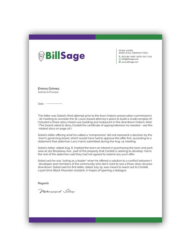Simple Business Letterhead Example