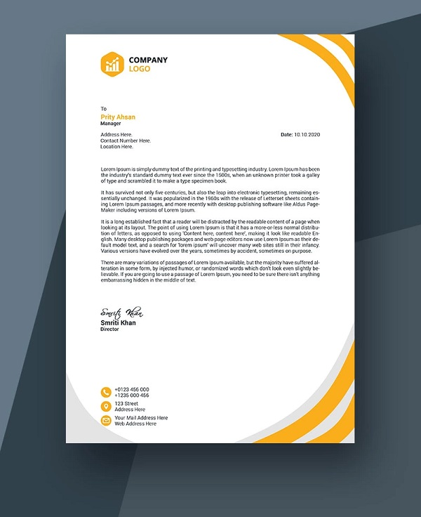 colorful Business Letterhead Example