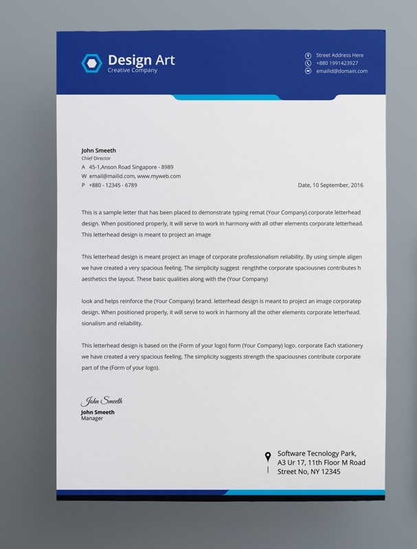 creative business letterhead example