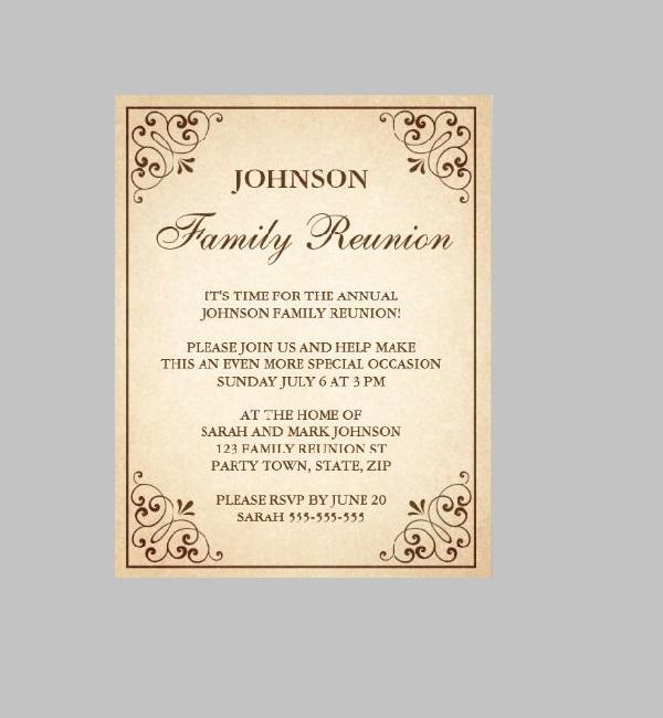 family reunion letterhead invitations