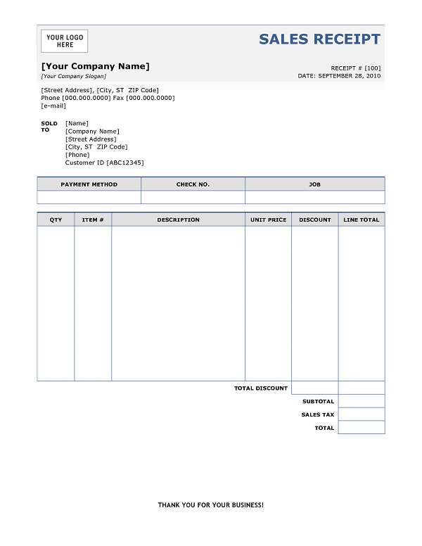 sales receipts Printable paper Sales Receipt templates PDF