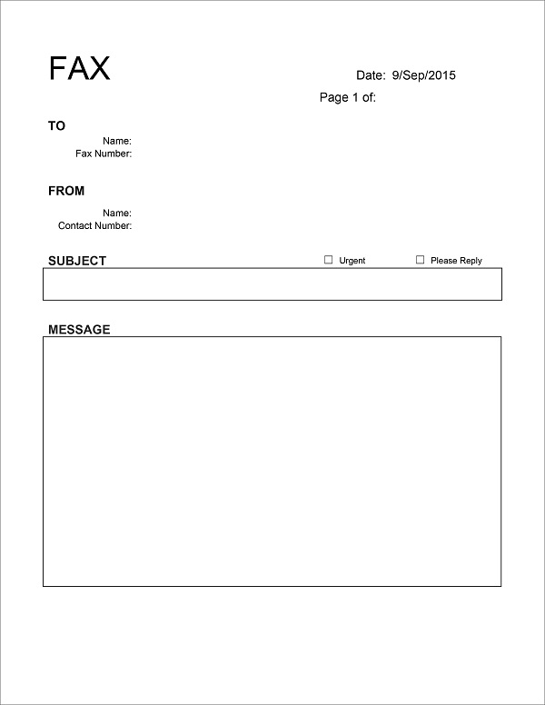 10 fax cover template