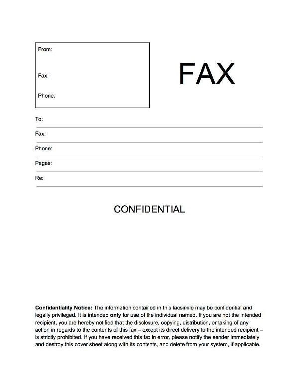 19 fax cover sheet