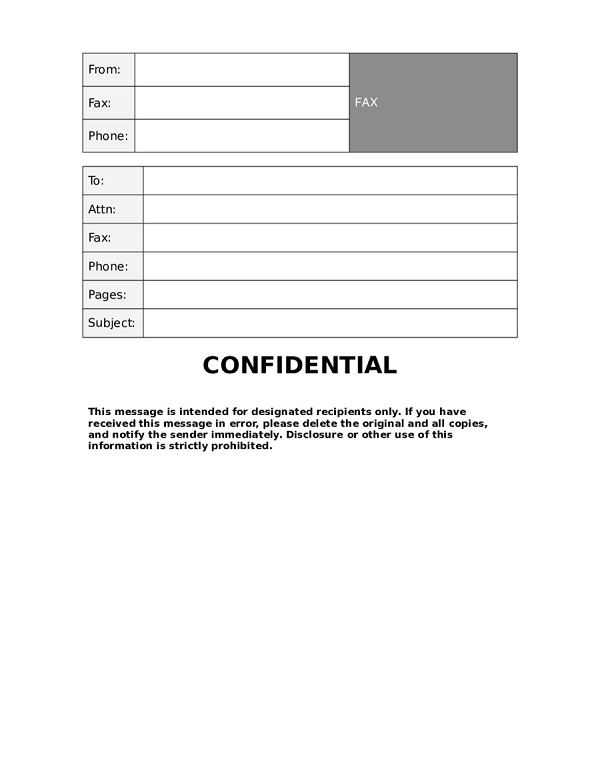 24 confidential fax cover sheet template