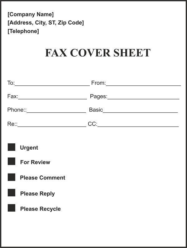 8 fax cover sheet