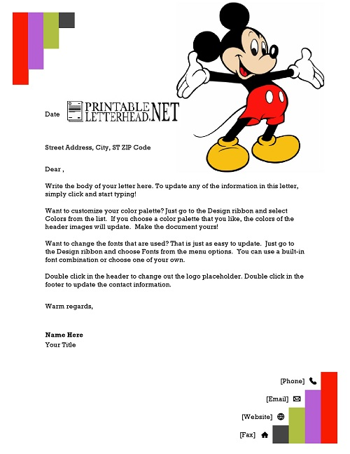 Mickey Mouse Cartoon Letterhead