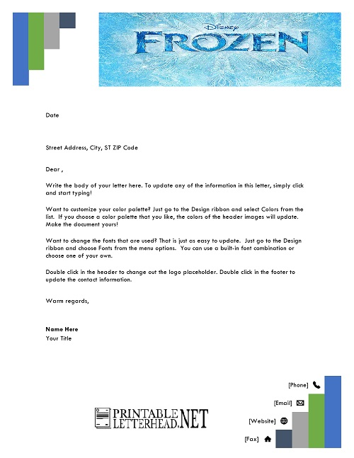 Frozen Cartoon Letterhead