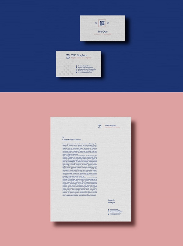 Creative Business Card Letterhead Design Template Mockup PSD