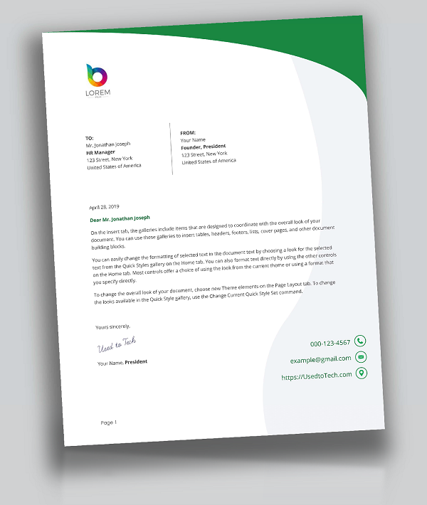 Creative Letterhead Design in Word