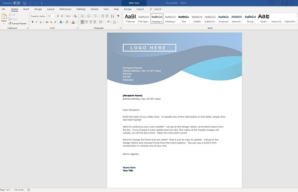 How To Do a Letterhead in word