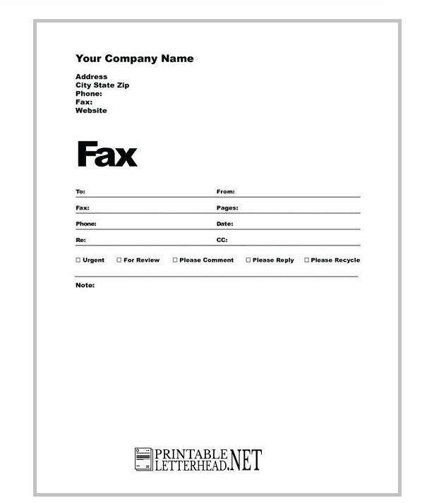 Personal Fax Cover Sheet Printable