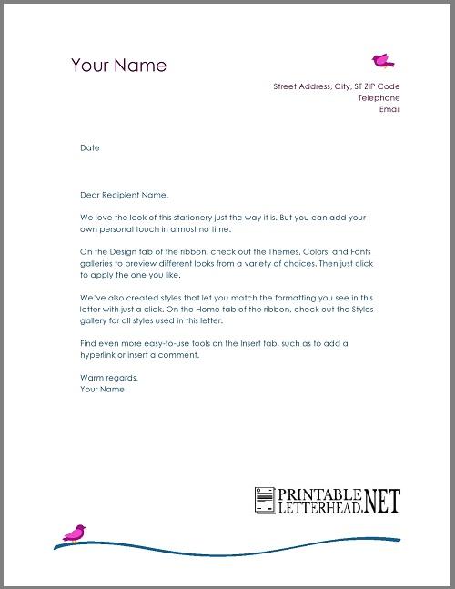 Personal Letterhead Design Template