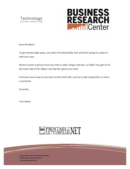 Technology Business Research Letterhead