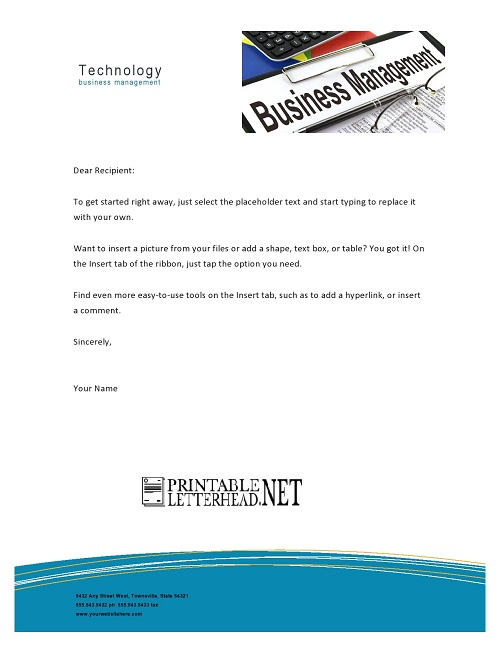 Technology Business Management Letterhead