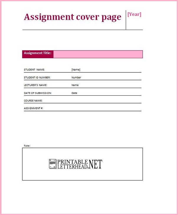 cover sheet template for assignment