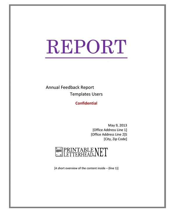 cover sheet template for report