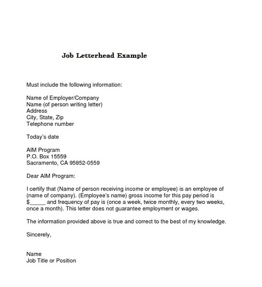 Job Letterhead Example